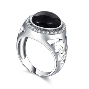 Latest fashion design rhodium plated black stone agate 925 silver ring