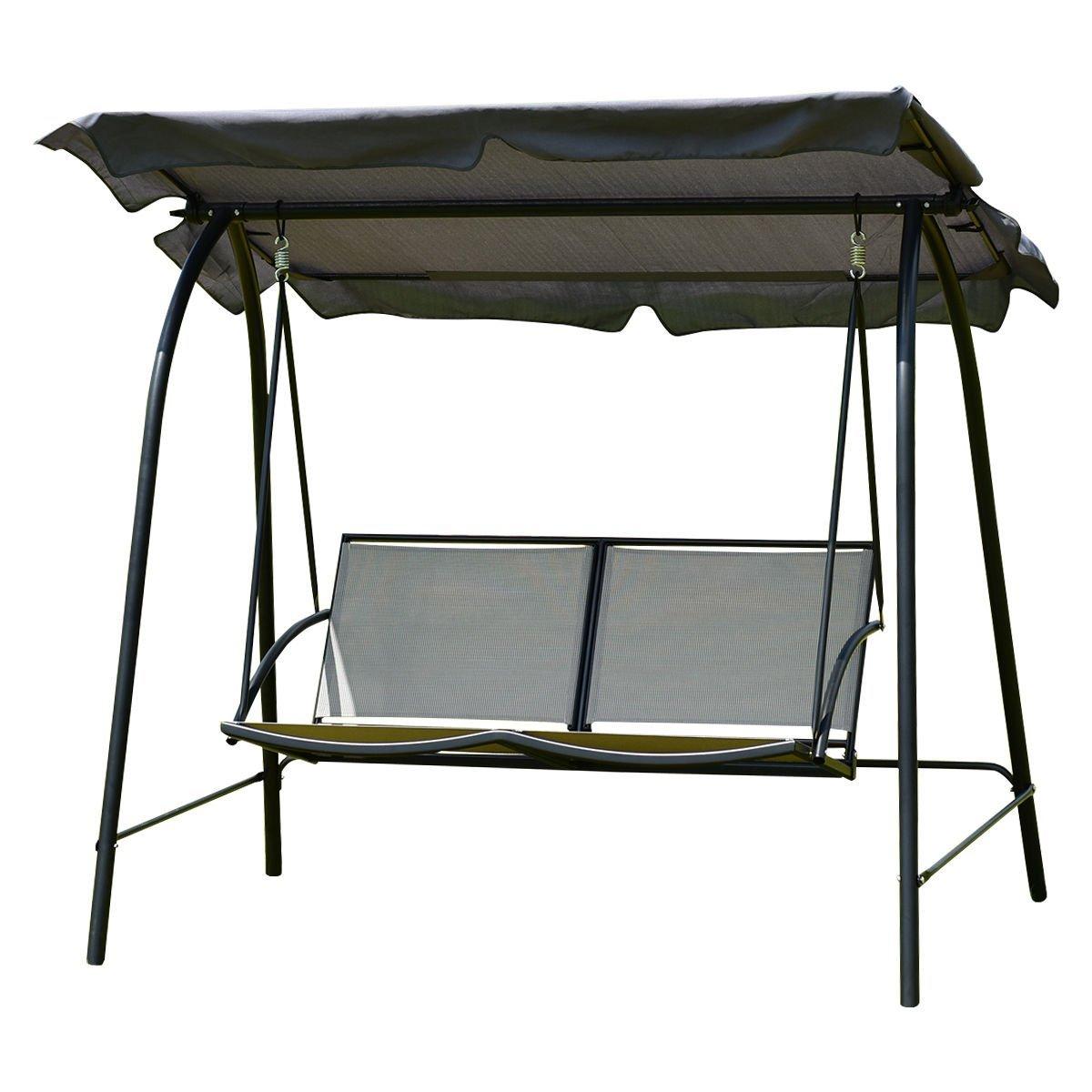 AK Energy Loveseat Patio Canopy 2 Seat Swing Glider Hammock Cushioned Steel Outdoor Gray
