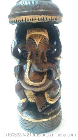 WOODEN BEAUTIFUL HAND CARVED LORD GANESHA INDIAN HANDICRAFT GIFTS