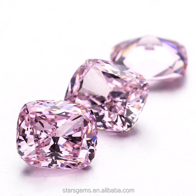 American zirconia rough AAAAA quality cushion cut 8x9mm pink color cubic zirconia in loose <strong>stones</strong> for fine jewelry