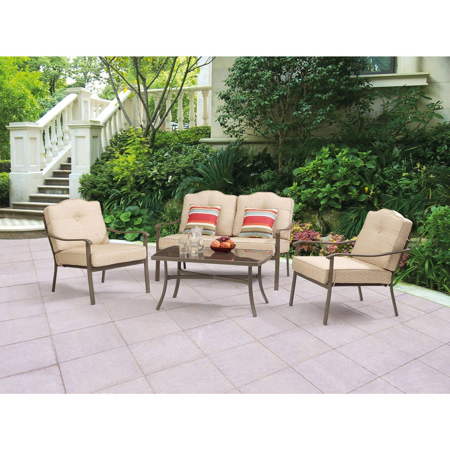 New Quality Mainstays Woodland Hills 4-Piece Chat Set Outdoor Patio Furniture Wholesale Price