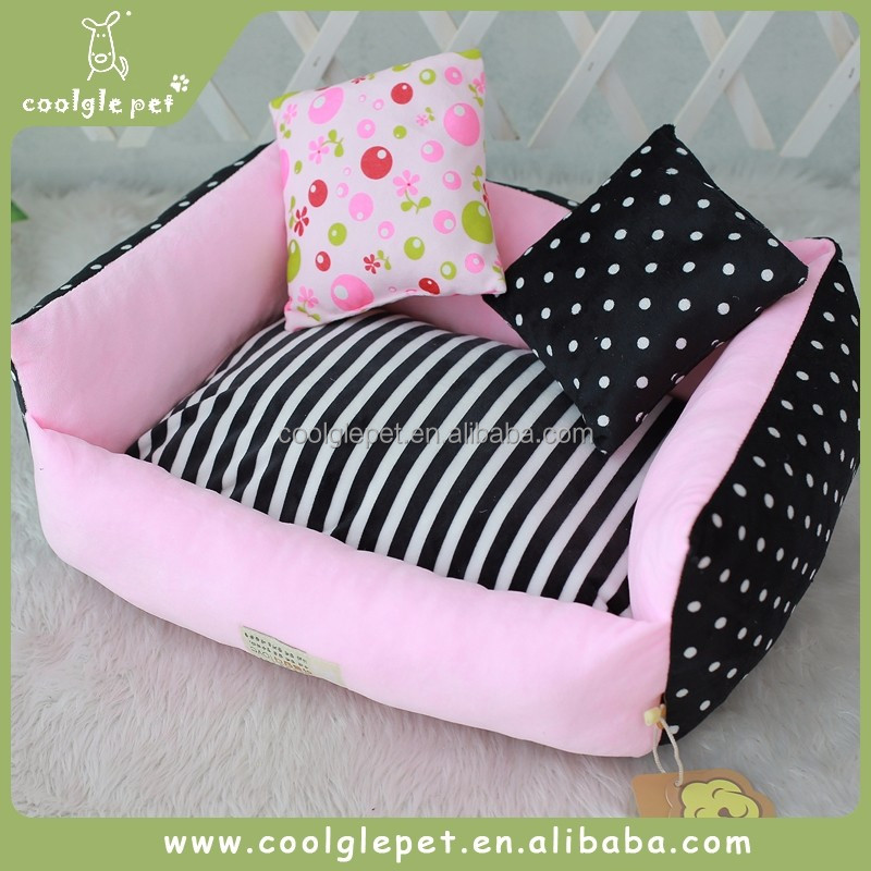 Double Pillow Luxury Cat Home Products Square Bed Dog Houses Indoor Dot Pet Sofa