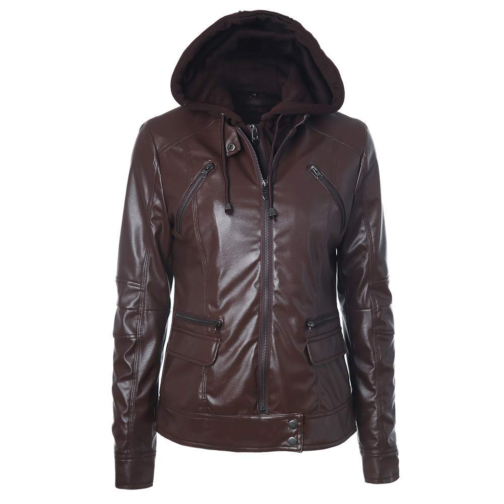 Amiley Women Jacket Winter,Womens Slim Leather Jacket Solid Removable Caps Parka Hooded Coats Outwear