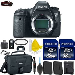 Canon EOS 6D 20.2 MP Full Frame CMOS Sensor Digital SLR Camera + 2pc High Speed 32GB Memory Cards + UV Filter + Canon Case + 2 In 1 Lens Cleaning Pen + Cleaning Kit + 9pc Accessory Kit