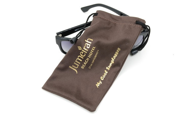 Promotion Microfiber Fabric Gold Stamping Drawstring Glasses Pouch Bag with Gold Logo