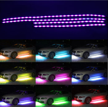 4 Pcs Rgb Colors Led Strip Under Car Underbody Underglow Neon Lights Kit With Remote Buy Led Light Strip Kit Rgb 4pcs Led Light Strip Kit Car Led