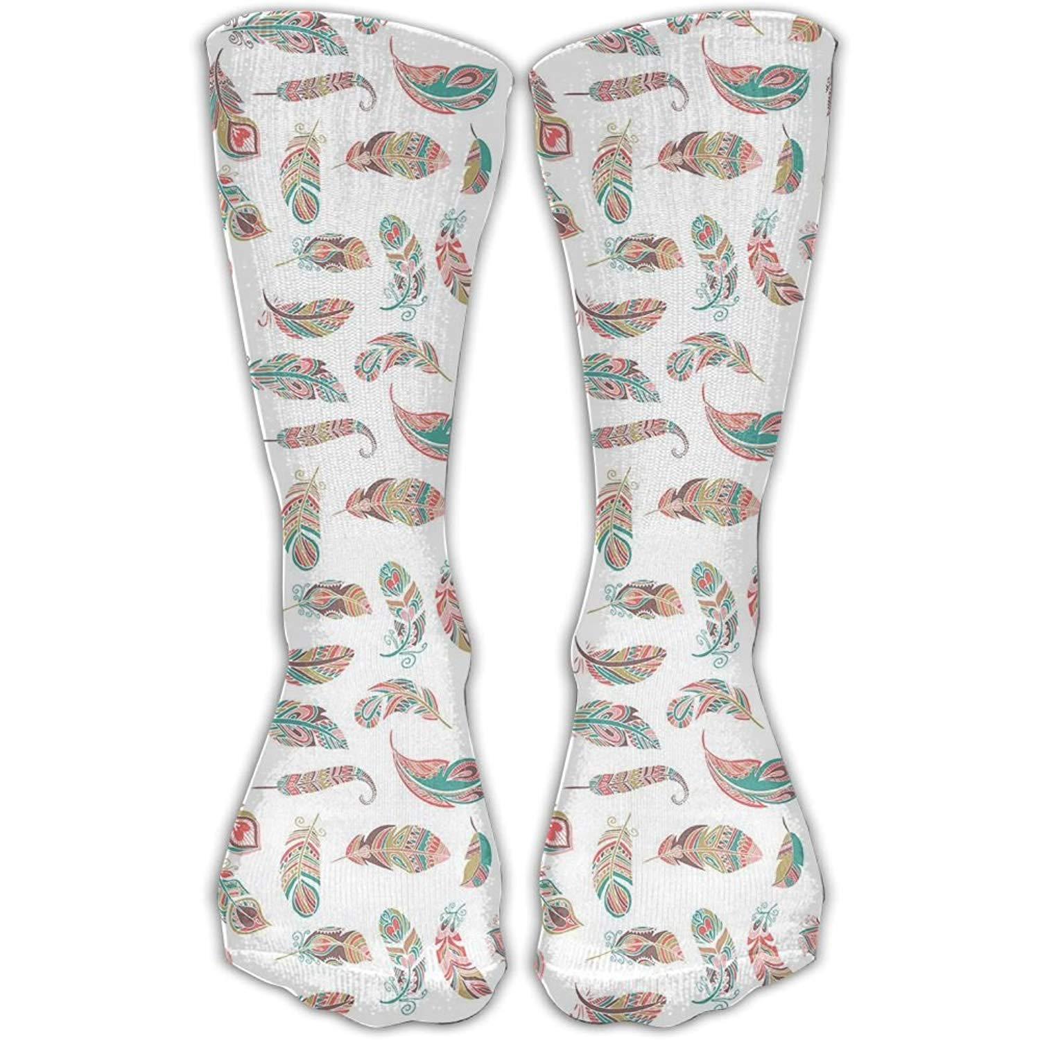 56d4cf70f96 Get Quotations · Too Suffering Ethnic Feathers With Colorful Style Currents  Women s Over Knee High Socks Bulldog Full Stockings