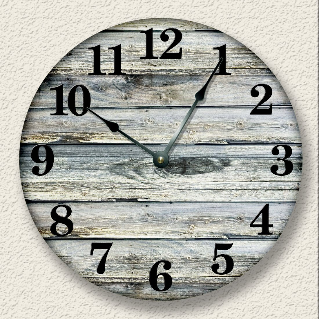 Rustic Wall Clock Weathered Boards Image Beach Sand Tan Cabin Country Decor