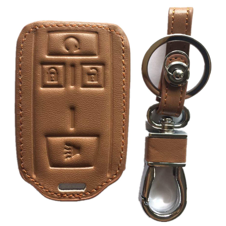 RPKEY Leather Keyless Entry Remote Control Key Fob Cover Case protector For Chevrolet Colorado Silverado 1500 2500 HD 3500 HD GMC Canyon Sierra 1500 2500 HD 3500 HD M3N-32337100 22881480(brown)