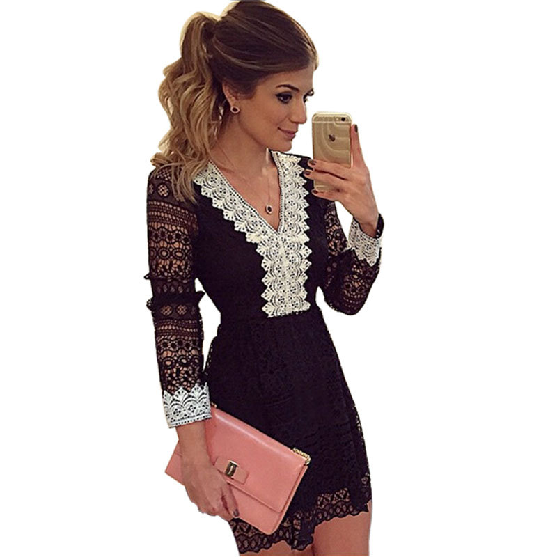 Women Summer Dress 2015 Sexy V-neck Black Party Mini Vestidos Fashion Casual Long Sleeve White Lace Patchwork OL Elegant Dress