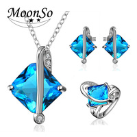 2016 new fashion high quality jewelry sets Zircon square blue jewelry sets AS-020 MoonSo
