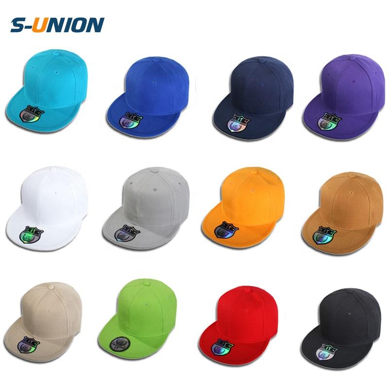 94d48941 S-UNION High quality Solid plain snapback caps custom hip hop flat bill  mens snapback hats women blank baseball cap