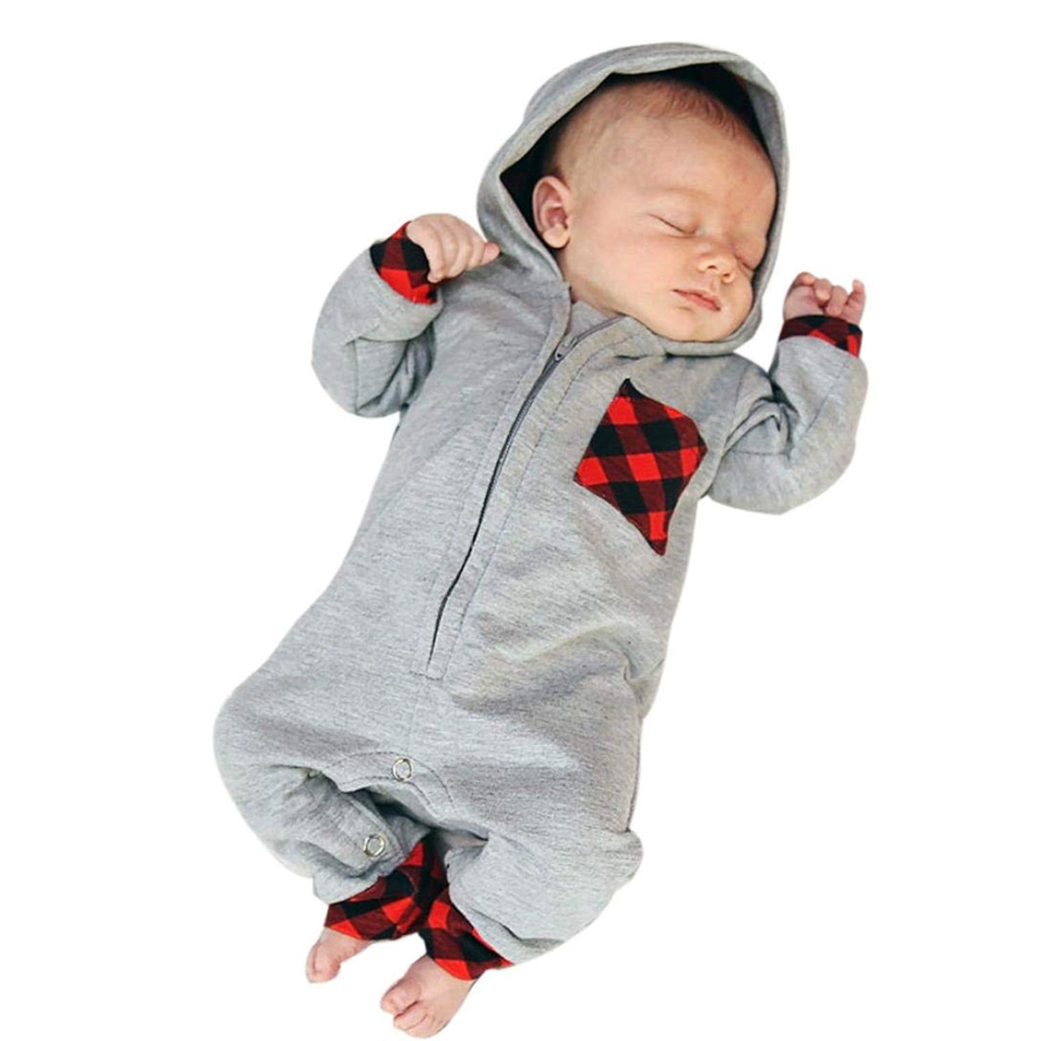 Makaor Newborn Infant Baby Boy Girl Hooded Romper Jumpsuit Plaid Zipper Outfits Clothes