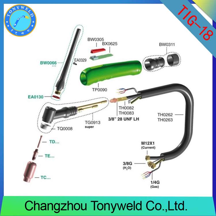Custom Tig Torch Gun Parts Tig Welding Wp18 - Buy Tig Welding Wp18 ...