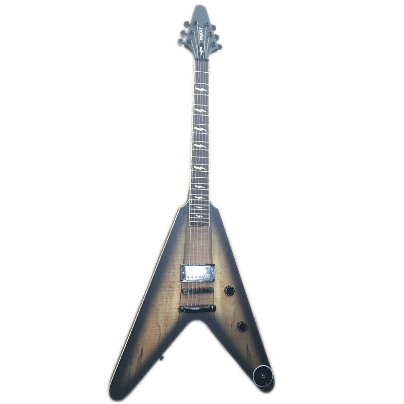 Spalted bordo top boult flying v da guitarra elétrica da marca made in china