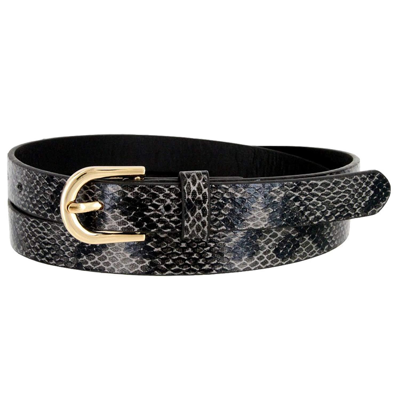 "Women's BLACK Skinny Thin Alligator Embossed Genuine Leather Belt 1"" (25mm) Wide S"
