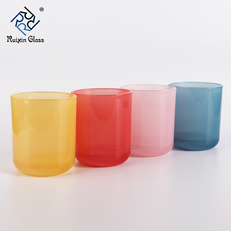 CJ086 High Quality Clear 10Oz Frosted Glass Candle Jar