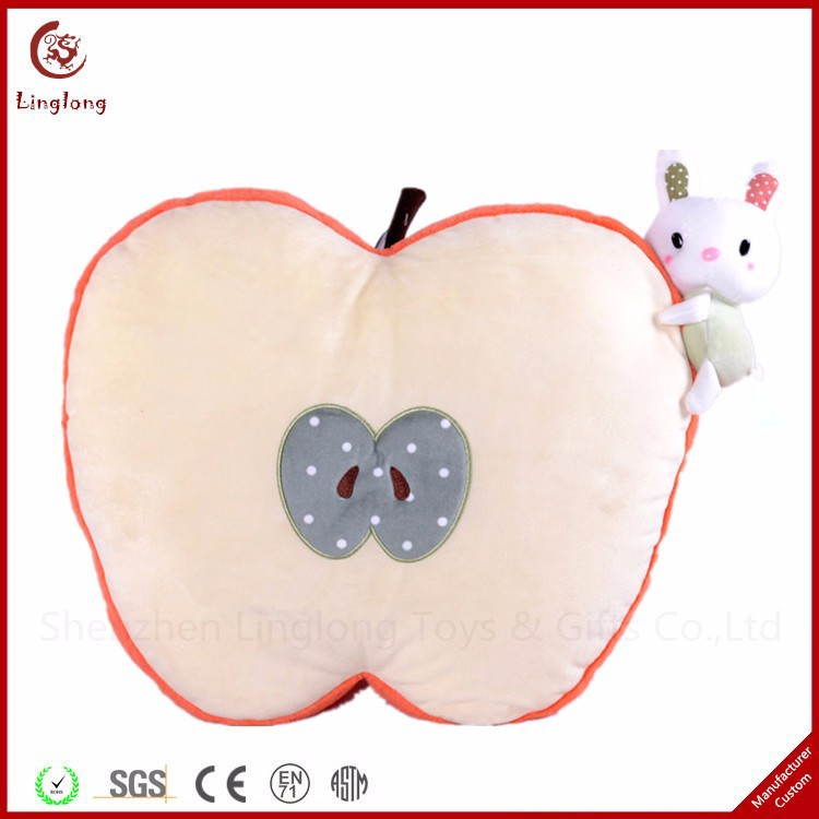A half apple with a small rabbit toys stuffed fruit dolls supple plant throw pillow