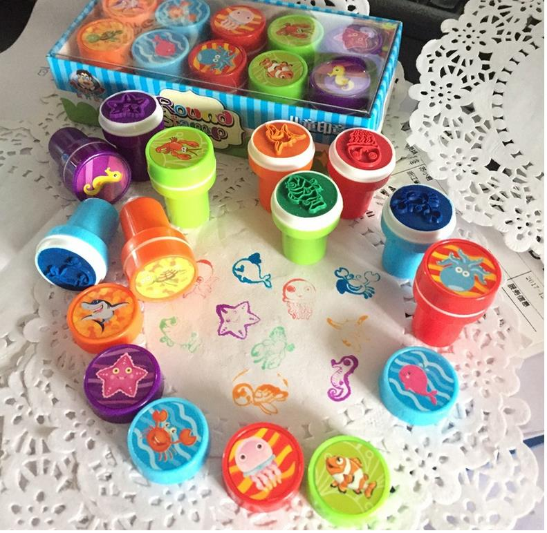 Wholesale Stock Small Order Cute round EVA children's seal plastic cartoon stamps sets
