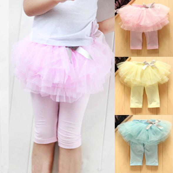 Hot Selling Kids Baby Girls Skirts Summer Skirt Leggings Gauze Pants Party Skirts Bow Candy Tutu