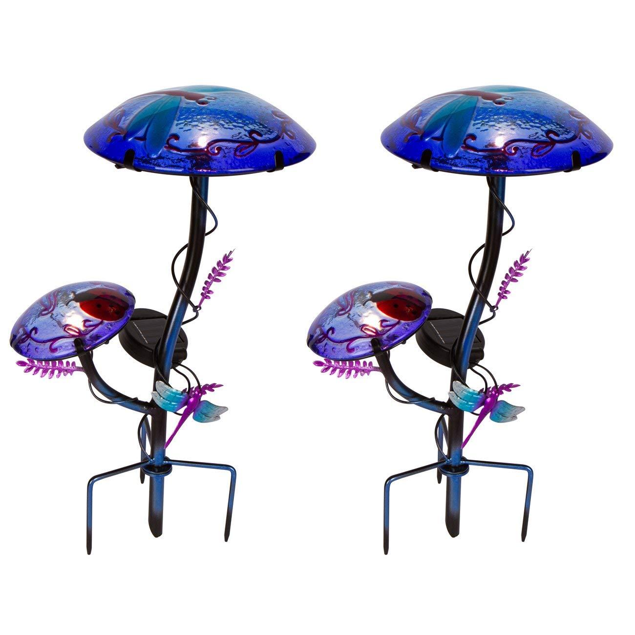 "12"" Solar Mushroom Garden Stake with Dragonfly Design by Trademark Innovations (Purple, Set of 2)"