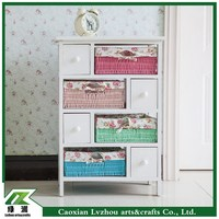 Top quality wood furniture storage cabinet with colorful drawers for living room