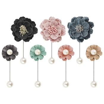 Boutonniere Lapel Camellia Japonica Brooch Pins Womens Handmade Wool Felt Flower Pearl Brooch Shawl Pin for Corsages