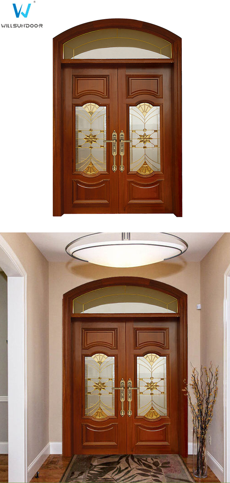 Frosted Glass Decoration Solid Entrance Doors Front Iron Door