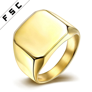 Custom Signet Cheap Engraved Gold Plated Stainless Steel Ring Designs for Men