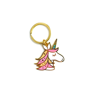 Custom logo metal lucky unicorn keychain for best friends