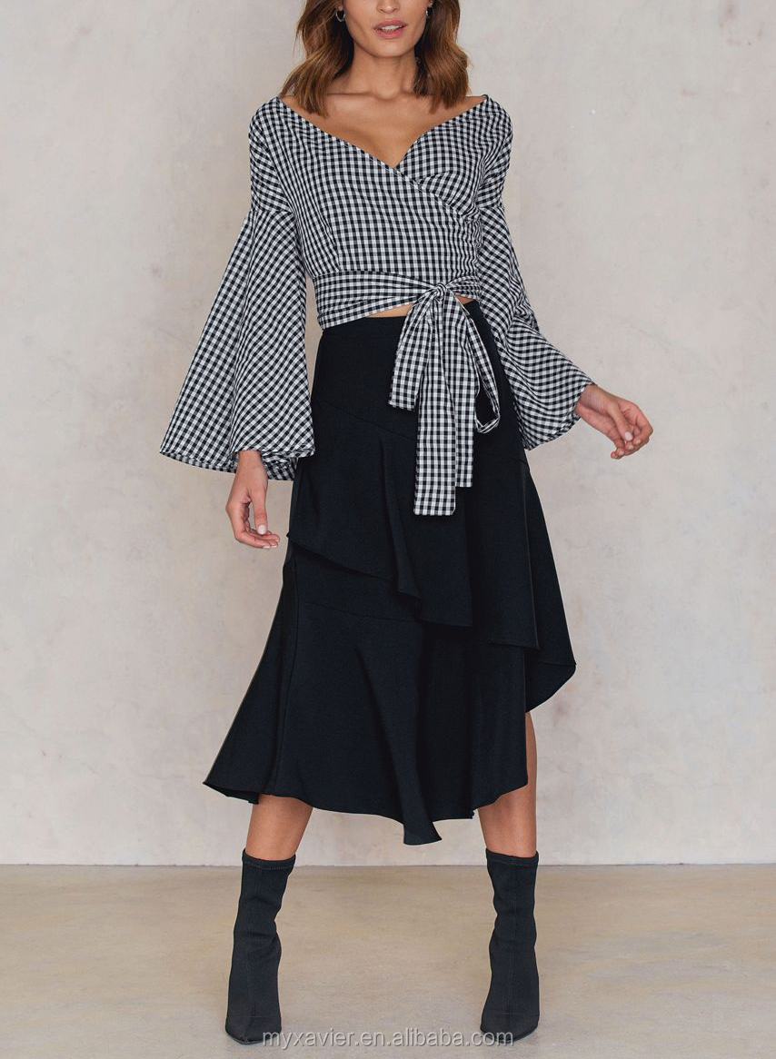 Bell sleeve sexy deep v-neck tie belt gingham woman top latest design