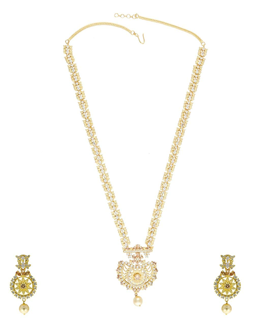af62a79c6 Anuradha Art Gold Finish Styled With Peach-White Diamonds American Diamonds  Long Necklace Set For