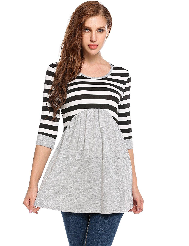 fae83ed8e5b7d Get Quotations · Zeagoo Womens Tunic Dress, Bohemian 3/4 Sleeve Striped  Ruffle Tunic Tops T Shirt