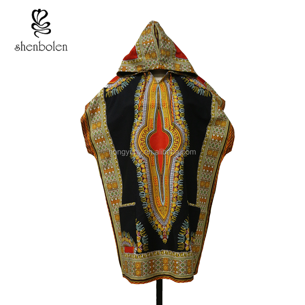 AM-020 Traditional African Men Clothing Short Sleeve Dashiki Hoddie Top Wholesale