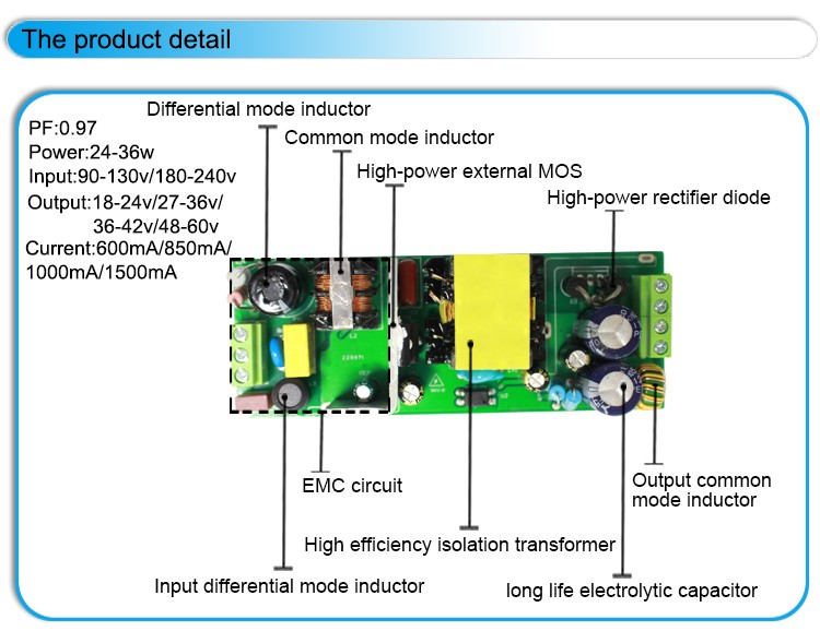 Constant Current Dimming Led Driver Circuit External 25w 600ma ...