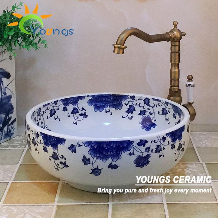 Jingdezhen Pintadas À Mão Porcelana Azul E Branca de Cerâmica Lavatório Pia D -> Cuba Banheiro China