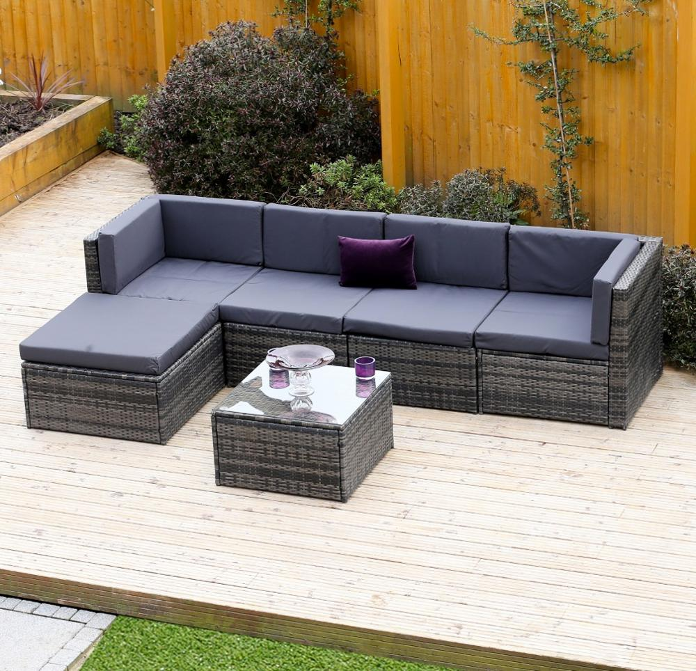 Rattan modular corner sofa set l shape 6piece assembled outdoor garden furniture