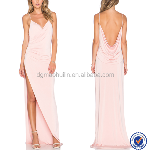 European style Dresses for women pink evening dress sexy split pleated long dress