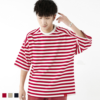 Men T-Shirt Red loose oversize striped drop shoulder sleeve t-shirt