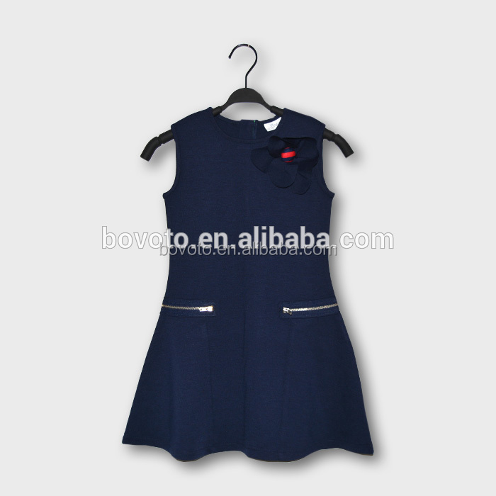 Girls navy color dress sleeveless dress with flower brooth