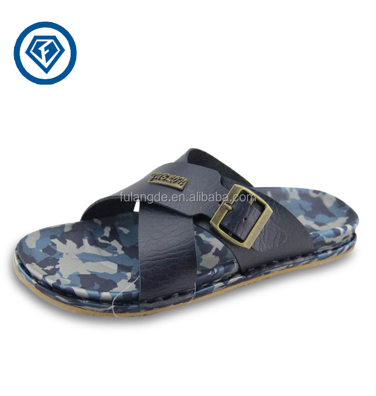 2015 New Fashion Summer Casual Pu Leather Slippers Men Sandals ...