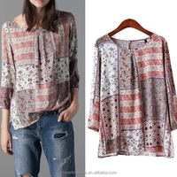 MS41012B 2015 western vintage printed hit color stitched women shirt