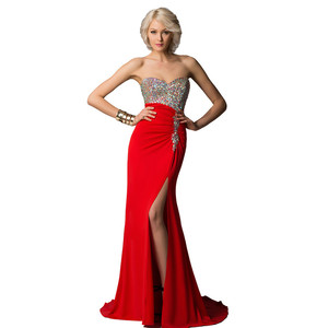 OEM Service Evening Dresses Made In China Crystal Beaded Bodice Red Evening Gown