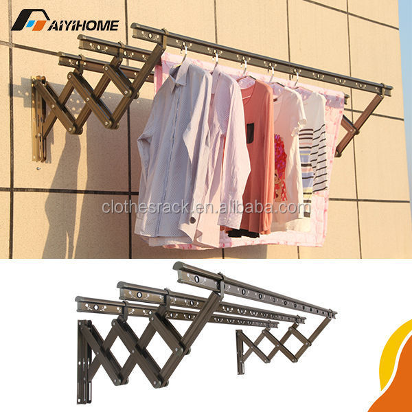 Aiyi Home Outdoor Aluminum Folding Clothes Drying Rack Wall Mounted Hanger Racks