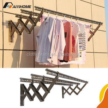 Aiyi Home Outdoor Aluminum Folding Clothes Drying Rack Wall Mounted Hanger
