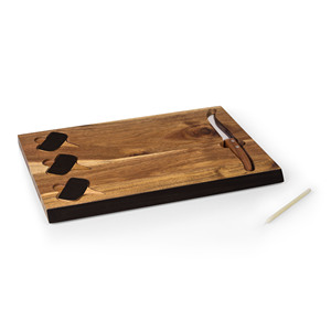 acacia wood cheese cutting board with 3 pieces of slate chalk