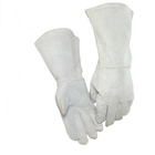 Grey Color Long Cuff Split Cowhide Heated Work Gloves