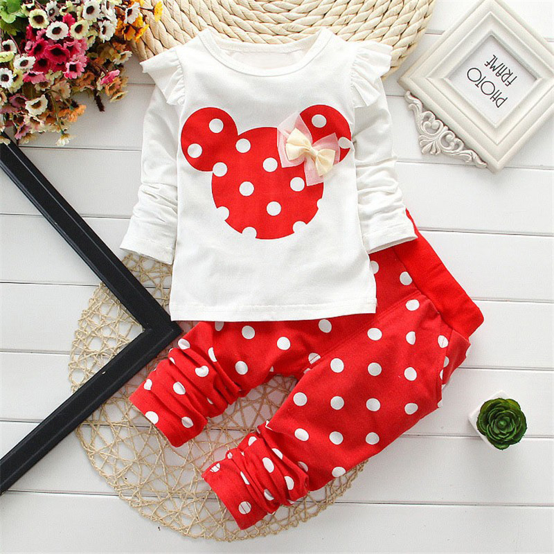2017 New kids clothes girl baby long sleeve cotton Minnie casual suits baby clothing retail children suits
