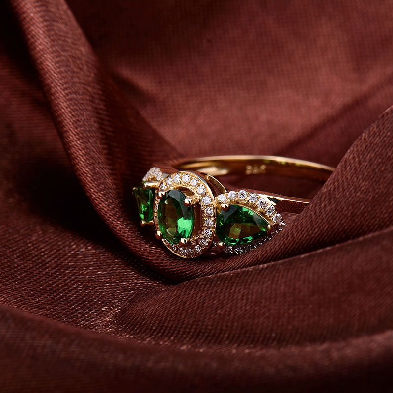 14k Yellow Gold Green Stone Ring Designs For Men With Diamond Buy