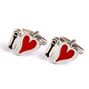 2016 New China Supplier Cheap Cute Black Bone and Red Heart Cufflinks